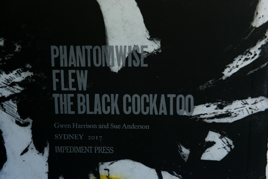 Letterpress Title on Etching of Phantomwise Flew the Black Cockatoo by Sue Anderson & Gwen Harrison